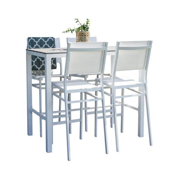 havesæt m. Parma barbord og 4 Copacabana barstole - grå aintwood og hvid alu