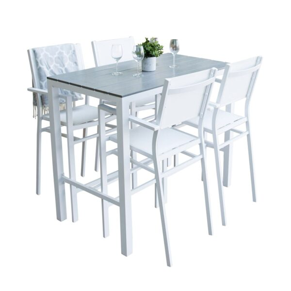 havesæt m. Parma barbord og Copacabana barstol - grå aintwood og hvid alu