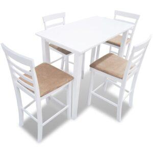 vidaXL Barbord 4 barstole træ hvidt