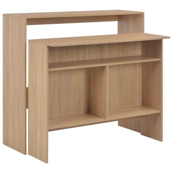 vidaXL barbord med 2 bordplader 130 x 40 x 120 cm egetræ