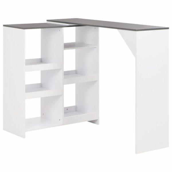 vidaXL barbord med bevægelig hylde 138 x 40 x 120 cm hvid