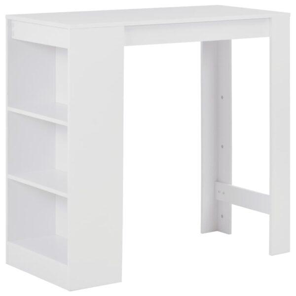 vidaXL barbord med hylde 110 x 50 x 103 cm hvid