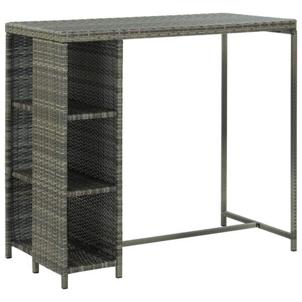 vidaXL barbord med opbevaringsstativ 120x60x110 cm polyrattan grå
