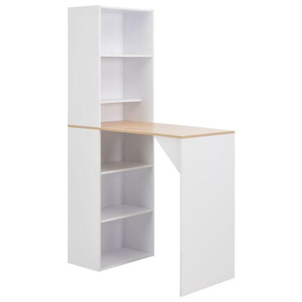 vidaXL barbord med skab 115 x 59 x 200 cm hvid