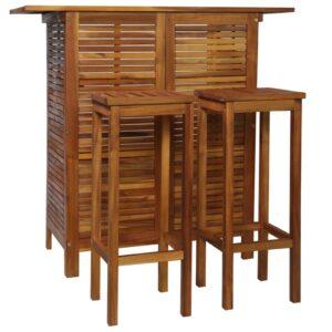 vidaXL barbord- og stolesæt i 3 dele massivt akacietræ