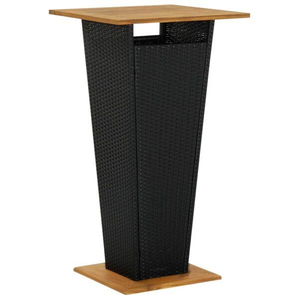vidaXL barbord 60x60x110 cm polyrattan og massivt akacietræ sort