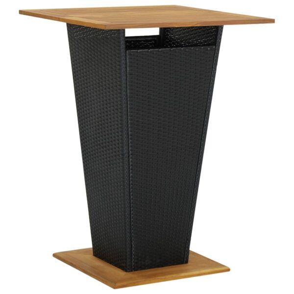vidaXL barbord 80x80x110 cm polyrattan og massivt akacietræ sort