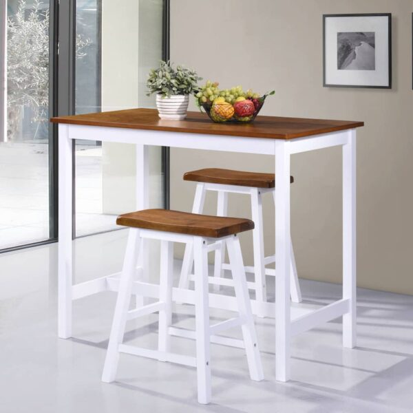 vidaXL barbord -og stolesæt 3 dele massivt træ