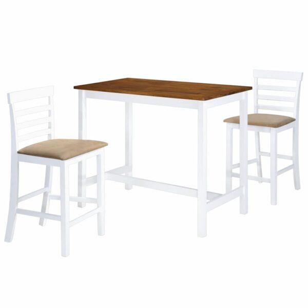 vidaXL barbord- og stolesæt i 3 dele massivt træ brun og hvid