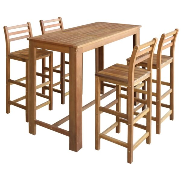vidaXL barbord- og stolesæt i 5 dele massivt akacietræ