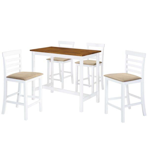 vidaXL barbord- og stolesæt i 5 dele massivt træ brun og hvid