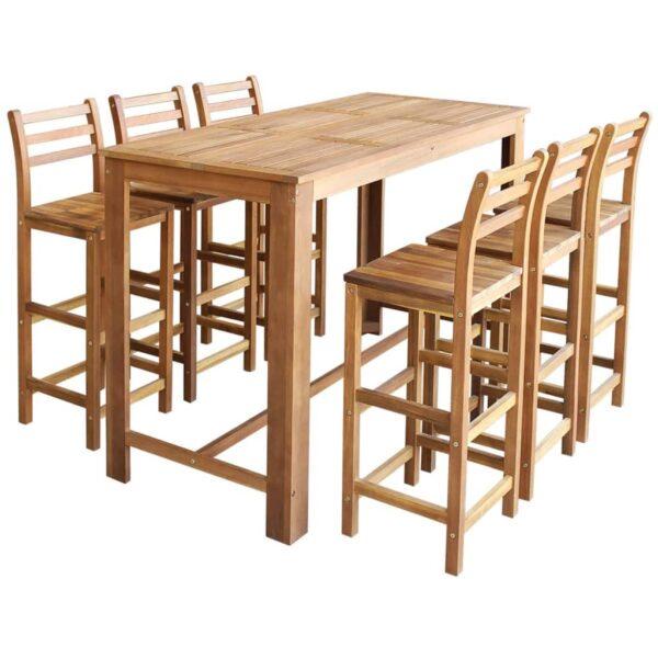 vidaXL barbord- og stolesæt i 7 dele massivt akacietræ
