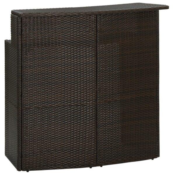 vidaXL barbord til haven 120x55x110 cm polyrattan brun