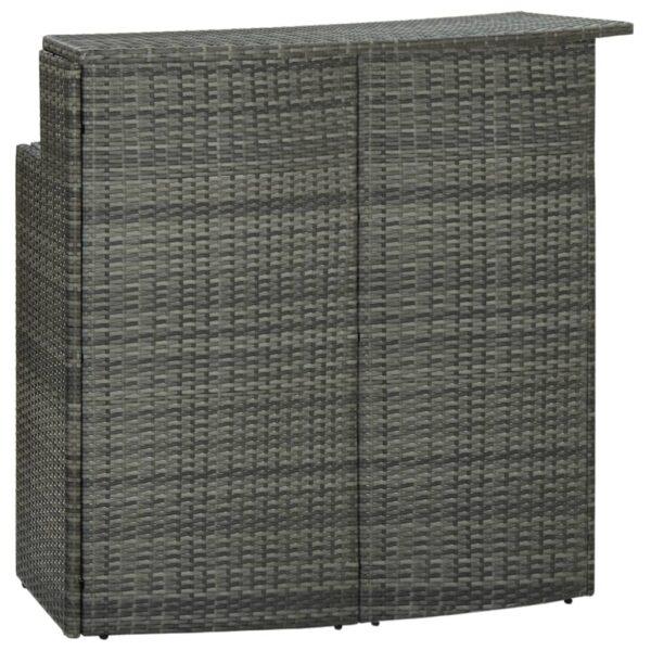 vidaXL barbord til haven 120x55x110 cm polyrattan grå