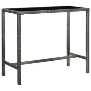 vidaXL barbord til haven 130x60x110 cm polyrattan og glas grå