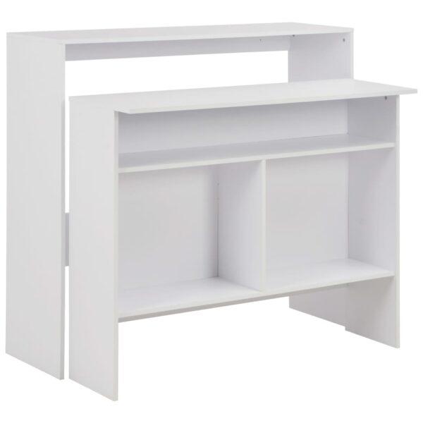 vidaXL barbord med 2 bordplader 130 x 40 x 120 cm hvid