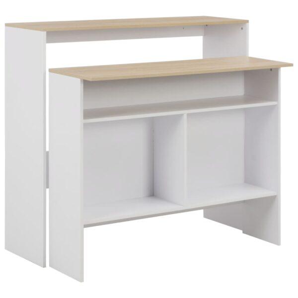 vidaXL barbord med 2 bordplader 130x40x120 cm hvid og eg