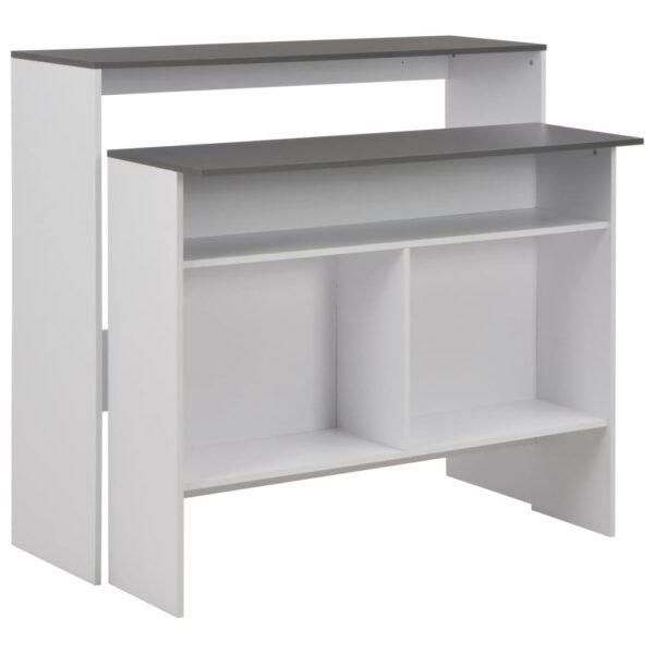 vidaXL barbord med 2 bordplader 130x40x120 cm hvid og grå
