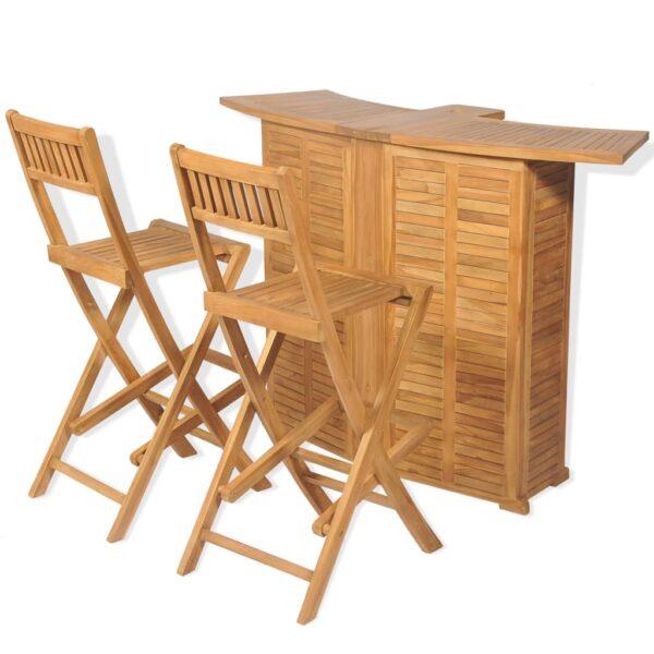 vidaXL bistrosæt 3 dele foldbare stole massivt teaktræ