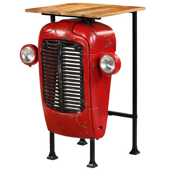 vidaXL traktor-barbord i massivt mangotræ rød 60 x 60 x 107 cm